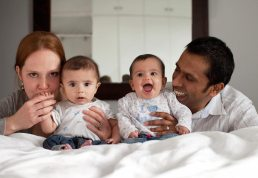 family with twins photographed in Birmingham