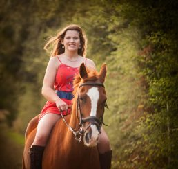 Family photoshoot -Teenage girl on a horse near Stratford-upon-Avon, Warwickshire