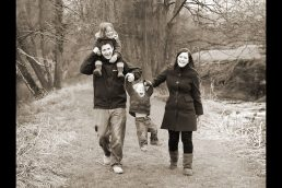 A family outdoors, near Stratford upon Avon