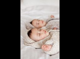 Twin babies photographed in Birmingham