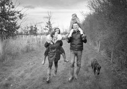 Family on a family photoshoot in Warwickshire