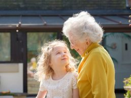 Girl and grandma on a family photoshoot in Warwickshire